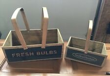 RARE Smith & Hawken Fresh Bulbs Wood Wooden  Gardening Caddy Crate With Handle