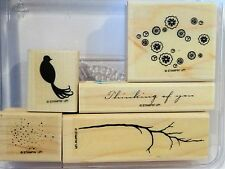 Stampin Up BIRD ON A BRANCH wood mount stamps pheasant blossoms thinking of you
