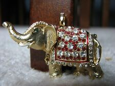Pin/Pendant with many Crystals Rucinni Gold Colored Elephant