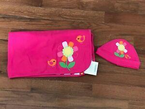 NWT Gymboree Brand New Baby Hot Pink Bird Flower Print Blanket & Hat 0-3 months