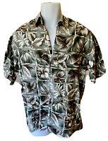 Mens Medium Hawaiian Button Down Floral Aloha Shirt Green Beige Flowers UBC
