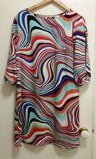 NEW Optical Swirl Shift dress with split sleeve, size 12