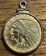 1915 2.50 Indian Head Gold Dollar 22k Gold Coin With Bezel Makes Great Pendant!