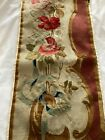Antique Aubusson Needlelwork Piece Featuring A Rose Bouquet With Ribbons
