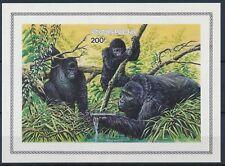 Rwanda**GORILLA BERINGER-BLOC 99-NONDENT-ONGETD-1985-IMPERFORATE SHEET-Monkeys