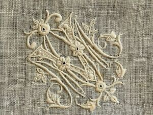 Antique French linon handkerchief, Hand embroidered, Initials MV, Needle lace