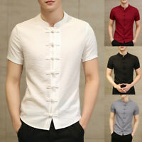 Mens Retro Chinese Style Stand Collar Slim Fit Short Sleeve Shirt Tops Blouse