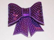 Purple 3D sequin bow hotfix iron on Motif patch Lace xmas costume Applique