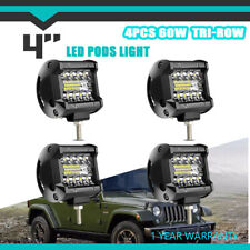 """4pcs driving 4"""" 60W LED lights pods S/F tri-row backup FOR Ford Jeep 4WD JK C2H"""