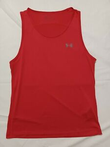 Under Armour Seamless Tank Top Red Heatgear Mens Large Athletic Shirt Workout