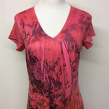 One World Womens Pink Floral Shirt Top Sublimation Lightweight Boho Sz S