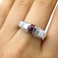 925 Sterling Silver Real Red Garnet Gemstone Ring Size 8