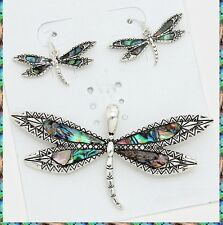"+23"" Chain Silver Metal Necklace Pendant Dragonfly Abalone Colorful Earrings Set"
