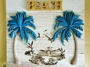 Twin Palms 3D and Laser Beach Sculpture 15.5 X 13.5