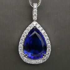 18ct White Gold Diamond & Tanzanite 'Halo' Pendant 9.60ct Pear Shape vBE+