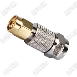 10x F Male Plug to SMA Male plug Straight Adapter Coaxial RF Connector Converter