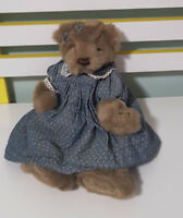 RICH COLOR RICH TEDDY BEAR SOFT TOY PLUSH TOY BLUE AND WHITE FRILLY DRESS 30CM!