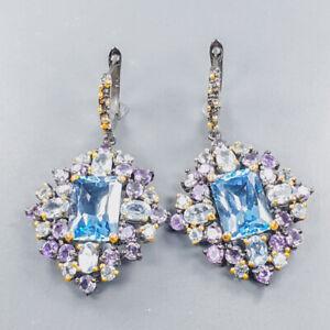 Jewelry fineart Blue Topaz Earrings Silver 925 Sterling   /E54887
