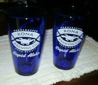 TWO! Kona Brewing Co./ Liquid Aloha- 16 oz Cobalt Blue Glasses