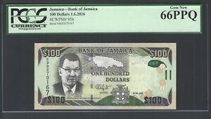 Jamaica 100 Dollars 1-6-2016 P95b Uncirculated Graded 66