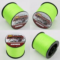 100M-1000M Fluorescent Green Dyneema Braided Fishing Line Spider 6-300LB