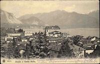 Isola Bella Italien Lago Maggiore 1905 Stadtansicht mit Insel gelaufen frankiert