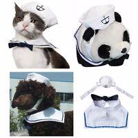 NEW Sailor Suit Costume Cotton Clothes For Pet Puppy Dog Cat Hat + Cape Outfit