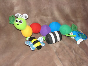 SASSY STUFFED PLUSH CATERPILLAR WORM BABY TOY CHIME RATTLE CARSEAT MOBILE BABY