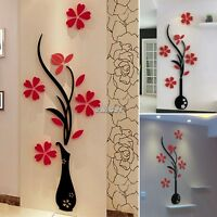 DIY Wall Decals Stickers 3D Flower Espejo Vinilo Decoracion Sala De Arte Casa