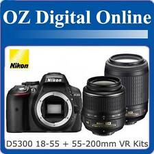 New NIKON D5300 18-55mm II+55-200mm VR Twin Kits Full HD 24MP DSLR 1 Year Au Wty