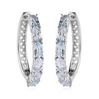 925 Sterling Silver Platinum Over Blue Aquamarine Hoops Hoop Earrings Ct 2.6