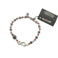 BRACCIALE IN ARGENTO 925 RUBY ZOISITE CORALLO BPAN-13 MADE IN ITALY BY MASCHIA