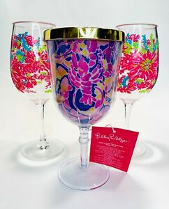 Lilly Pulitzer Acrylic Sip Sip Cup Gumbo Limbo 2 Sea Coral Fish Wine Glasses SET