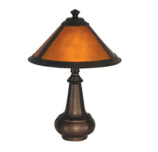 Bronze Mica Accent Table Lamp ~ Vintage Antique Style ~ Amber Shade Soft Glow