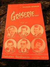 Partition Griserie... Music Sheet Georges Besson Noguez Lassagne Brancher 1964