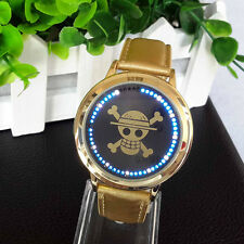 Anime One Piece LED Touch Screen Electronic Glass Wrist Watch Leather Strap Gold