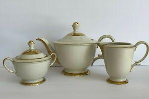 Vintage German Bavaria Tirschenreuth Gold Encrusted Tea Set