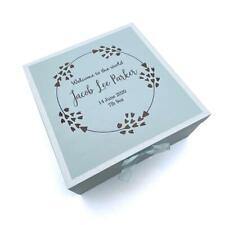 Personalised Baby Boy Blue Wooden Memories Keepsake Box Heart Wreath CG1309B-8