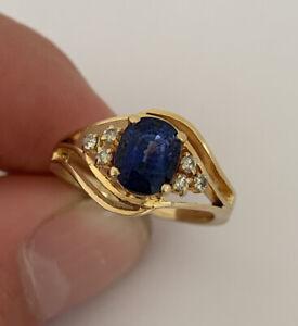 14ct Gold Sapphire & Diamond Large Heavy Ring, 585 14k