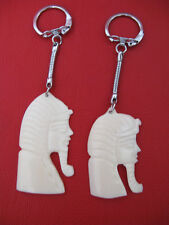 1 Egyptian Camel Bone Keychain Hand Carved King Tut