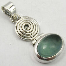 """925 SOLID Silver GREEN APATITE VINTAGE STYLE CHUNKY Pendant 1.5"""" BESTSELLER"""