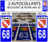 2 stickers plaque immatriculation auto TUNING DOMING 3D RESINE REGION ALSACE 68