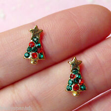 3D Nail Art Decoration Metal Christmas Tree Stars Rhinestones 10 PIECES