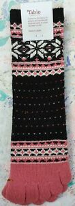 Tabio Japan Womens Socks Snowflake Doted MidCalf Toe BlackPink UK 4-6 EU 37-39.5