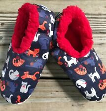 L 9-10 Snoozies Multi Color Kitty Cats Kitties Soft Slippers Shoes Women NEW