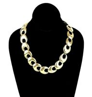 Vintage Crown Trifari Disc Gold Tone Signed Chain Link Necklace