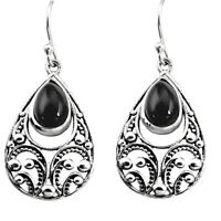 black friday sale 5.42cts natural black onyx dangle earrings jewelry p16449