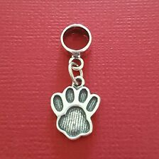 Sterling Silver Paw Print Charm solid 925 dog cat pet european slide on bead