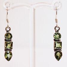 925 Sterling Silver Semi-Precious Peridot Drop Earrings