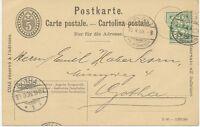 """SCHWEIZ """"ZÜRICH 2 / FIL.SEIDENGASSE"""" K2 (kleiner Type) 5 C GA-Postkarte 1906"""